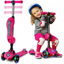 Deals List: 2-in-1 Scooter for Kids with Folding Removable Seat Zero Assembling – Adjustable Height Kick Scooter for Toddlers Girls & Boys – Fun Outdoor Toys for Kids Fitness 3 PU Flashing Wheels Extra Wide Deck