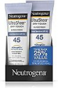 Deals List: Neutrogena Ultra Sheer Dry-Touch Water Resistant and Non-Greasy Sunscreen Lotion with Broad Spectrum SPF 45, 3 fl. oz, Pack of 2