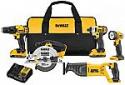 Deals List: DEWALT 20V Max Li-ion Compact 5-Tool Combo (Drill/Driver, Recip Saw, Impact Driver, Circular Saw, Work Light, Battery Packs, Bag)