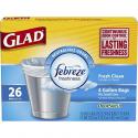 Deals List: Glad Small Trash Bags - OdorShield 4 Gallon White Trash Bag, Febreze Fresh Clean - 26 Count Each (Pack of 6)