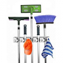 Deals List: Home- It Mop and Broom Holder, 5 Position with 6 Hooks Garage Storage Holds up to 11 Tools, Storage Solutions for Broom Holders, Garage Storage Systems Broom Organizer for Garage Shelving Ideas