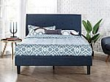 Deals List: Zinus Omkaram Upholstered Navy Button Detailed Platform Bed / Mattress Foundation / Easy Assembly / Strong Wood Slat Support, King