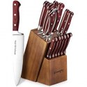 Deals List: Emojoy Knife Set, 15-Piece Kitchen Knife Set with Block Wooden, Manual Sharpening for Chef Knife Set, German Stainless Steel