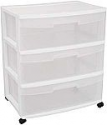 Deals List: Sterilite 29308001 Wide 3 Drawer Cart, White Frame with Clear Drawers and Black Casters, 1-Pack