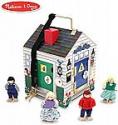 "Deals List: Melissa & Doug Take-Along Wooden Doorbell Dollhouse (Doorbell Sounds, Keys, 4 Poseable Wooden Dolls, 9"" H x 6.8"" W x 6.8"" L)"