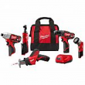 Deals List: Milwaukee M12 12-Volt Lithium-Ion Cordless Combo Kit (5-Tool) with Two 1.5Ah Batteries, Charger and Tool Bag