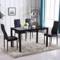 Deals List: Glass Metal Kitchen 5 Piece Dining Table Set 4 Chair