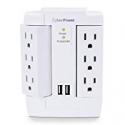 Deals List: CyberPower CSP600WSURC2 Surge Protector, 1200J/125V, 6 Swivel Outlets, 2 USB Charging Ports, Wall Tap Design