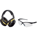 Deals List: AmazonBasics Safety Ear Muffs Ear Protection, Black and Yellow, and Safety Glasses, Clear Lens