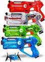 Deals List: Dynasty Toys Family Laser Tag Set - 4 Laser Tag Blasters and 1 Target Robot Bug - Transparent Special Edition Blasters