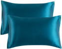 Deals List: Bedsure Satin Pillowcase for Hair and Skin, 2-Pack - Standard Size (20x26 inches) Pillow Cases - Satin Pillow Covers with Envelope Closure, Teal