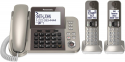 Deals List: PANASONIC Corded / Cordless Phone System with Answering Machine and One Touch Call Blocking – 2 Handsets - KX-TGF352N (Champagne Gold)