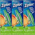 Deals List: Ziploc Sandwich Bags, XL, 3 Pack, 30 ct