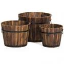 Deals List: BCP Set of 3 Wood Barrel Planter w/Drainage Holes