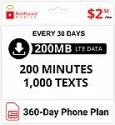 Deals List: 360-Day Red Pocket CDMA-S Prepaid Plan: 200 Talk, 1000 Text & 200MB Data/Month