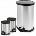 Deals List: Mainstays 3-Piece Stainless Steel 1.3 Gal and 8 Gal Waste Can Combo