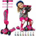 Deals List: 2-in-1 Scooter for Kids with Folding Removable Seat Zero Assembly – Adjustable Height Kick Scooter for Toddlers Girls & Boys 2-12 Years-Old – Fun Outdoor Toys for Kids Fitness 3 LED Flashing Wheels