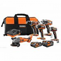 Deals List: RIDGID 18-Volt Lithium-Ion Cordless Brushless 5-Tool Combo Kit with (1) 4 Ah and (1) 2 Ah Batteries, Charger, and Bag
