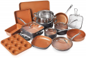 Deals List: Gotham Steel 20 Piece All in One Kitchen Cookware + Bakeware Set with Nonstick Durable Ceramic Copper Coating – Includes Skillets, Stock Pots, Deep Square Fry Basket, Cookie Sheet and Baking Pans