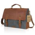 Deals List: Lifewit Genuine Leather Vintage 15.6 Inch Laptop Canvas Messenger Satchel Bag (Grey)
