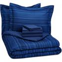 Deals List: AmazonBasics 7-Piece Bed-In-A-Bag Comforter Bedding Set - Full or Queen, Royal Blue Calvin Stripe, Microfiber, Ultra-Soft