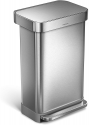 Deals List: simplehuman 45 Liter / 12 Gallon Stainless Steel Rectangular Kitchen Step Trash Can with Liner Pocket, Brushed Stainless Steel