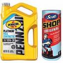Deals List: 5-Qt Pennzoil 10W30 Full Synthetic Platinum Motor Oil + Scott Shop Towel