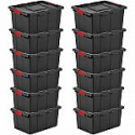 Deals List: 12-Count Sterilite 15G Durable Rugged Industrial Tote w Latches
