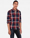Deals List: Express Mens Classic Plaid Pattern Soft Wash Button-Down Shirt