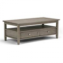 Deals List: Simpli Home Warm Shaker Solid Wood 48 inch Coffee Table