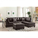 Deals List: Poundex F6973 Bobkona Viola Faux Leather Left or Right Hand Chaise Sectional Set with Ottoman (Pack of 3), Espresso