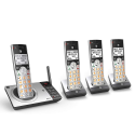 Deals List: AT&T DECT 6.0 Expandable Cordless Phone with Answering System, Silver/Black with 4 Handsets