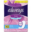 Deals List: Always Thin Daily Wrapped Liners, Unscented, 162 count (Pack of 1)