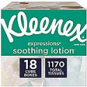 Deals List: Kleenex Expressions Soothing Lotion Facial Tissues, 18 Cube Boxes, 65 Tissues Per Box (1,170 Tissues Total), Coconut Oil, Aloe & Vitamin E