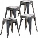 Deals List: Poly and Bark Trattoria 18 Inch Metal Side Dining Chair and Bar Stool in Polished Gunmetal (Set of 4)