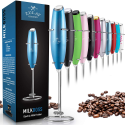 Deals List: Zulay Metallic Milk Frother Handheld Foam Maker for Lattes - Whisk Drink Mixer for Bulletproof® Coffee, Mini Foamer for Cappuccino, Frappe, Matcha, Hot Chocolate by Milk Boss