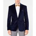 Deals List: Bar III Mens Slim-Fit Blue Paisley Velvet Sport Coat