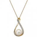 Deals List: Macys Cultured Pearl and Pendant 18-in Necklace in 14k Gold
