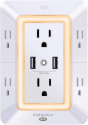 Deals List: USB Wall Charger, Surge Protector, POWRUI 6-Outlet Extender with 2 USB Charging Ports (2.4A Total) and Night Light, 3-Sided Power Strip with Adapter Spaced Outlets - White,ETL Listed
