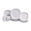 Deals List: Tabletops Unlimited Quinto White Porcelain Square 16-pc Dinnerware Set