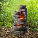 Deals List: Peaktop Outdoor Stacked Stone Tiered Bowls Fountain w/LED Light