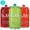 Deals List: Bubly Sparkling Water, 3 Flavor Variety Pack (Apple/Cherry/Strawberry), 12 Fluid Ounces Cans (18 Pack)
