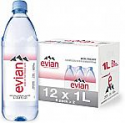 Deals List: evian Natural Spring Water, 1 Liter Premium Water Bottles, 33.8 Fl Oz (Pack of 6)