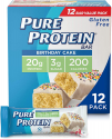 Deals List: Pure Protein Bars, High Protein, Nutritious Snacks to Support Energy, Low Sugar, Gluten Free, Birthday Cake, 1.76 oz, Pack of 12