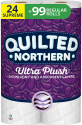 Deals List:  24 Supreme Size Rolls (Equivalent to 99 Regular Rolls) of Quilted Northern Ultra Plush 3-Ply Bath Tissue