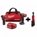 Deals List:  Milwaukee M12 FUEL 12-Volt Li-Ion Brushless Cordless Hammer Drill and Impact Driver Combo Kit (2-Tool)w/ Free M12 3/8 in. Ratchet 2598-22-2457-20