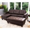 Deals List: Abbyson Living Claire Leather Reversible Sectional and Ottoman