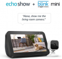 Deals List: Echo Show 5 Charcoal with Blink Mini Indoor Smart Security Camera, 1080 HD with Motion Detection