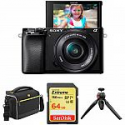 Deals List: Sony Alpha a6100 Mirrorless Digital Camera with 16-50mm Lens  + Free Accessories