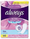 Deals List: Always Thin Daily Liners, Regular Absorbency, 120 Count, Unscented, Wrapped